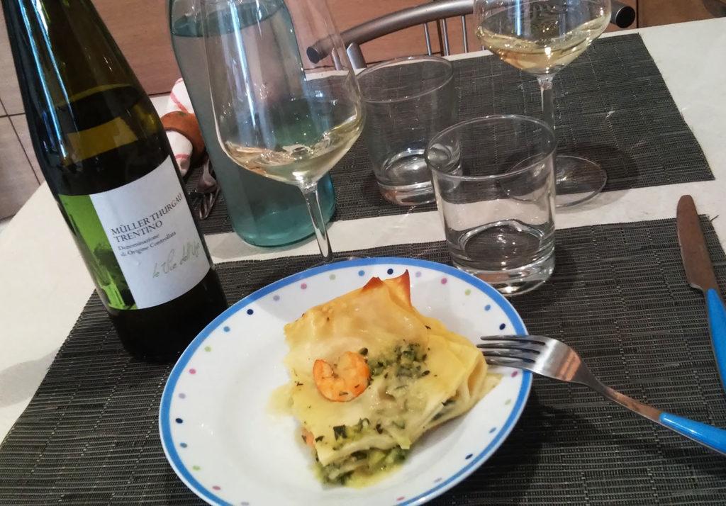 Lasagne ai gamberi e Müller Thurgau Doc