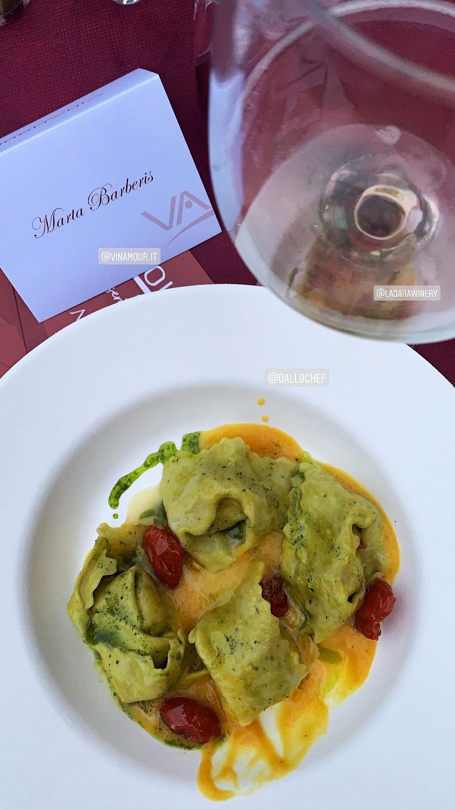 """Pinot Grigio Rosé Doc """"Delle Venezie"""", abbinato con: Tortelloni con sfoglia al basilico ripieno di mozzarella di Bufala e pomodorini confit"""