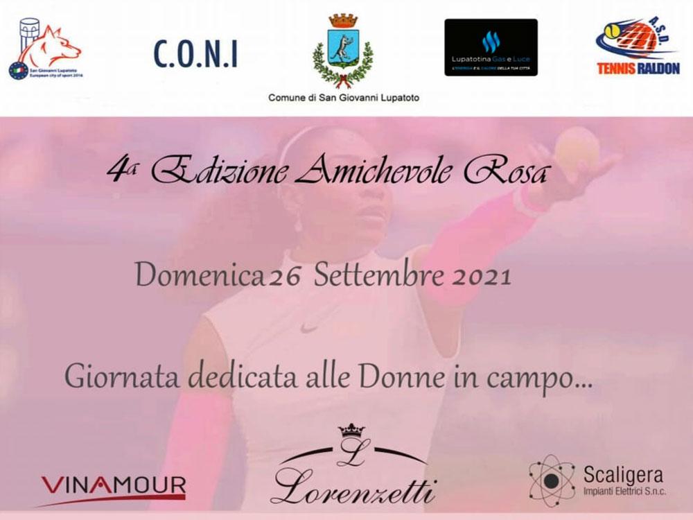 4ª Edizione Amichevole Rosa. Torneo Femminile al Tennis Raldon, in collaborazione con Vinamour