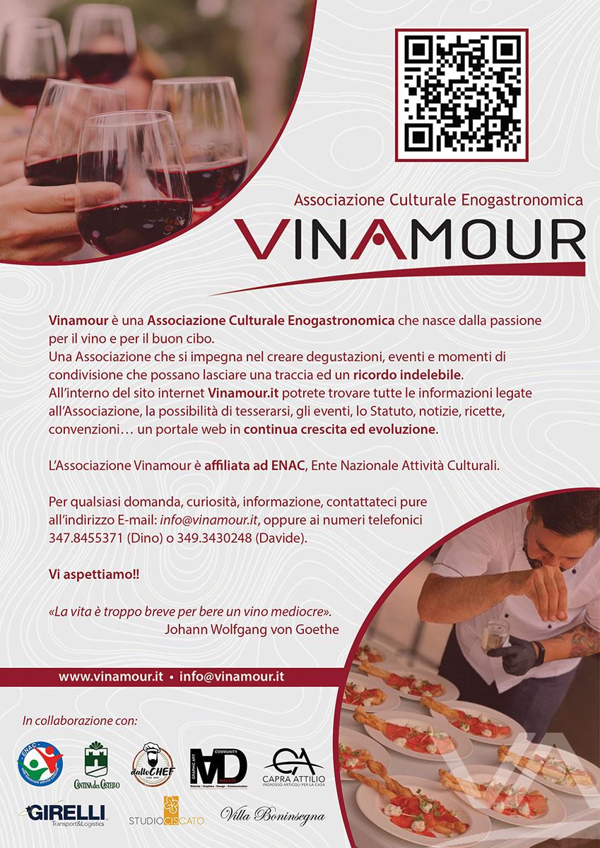 Locandina di presentazione dell'Associazione Culturale Enogastronomica Vinamour